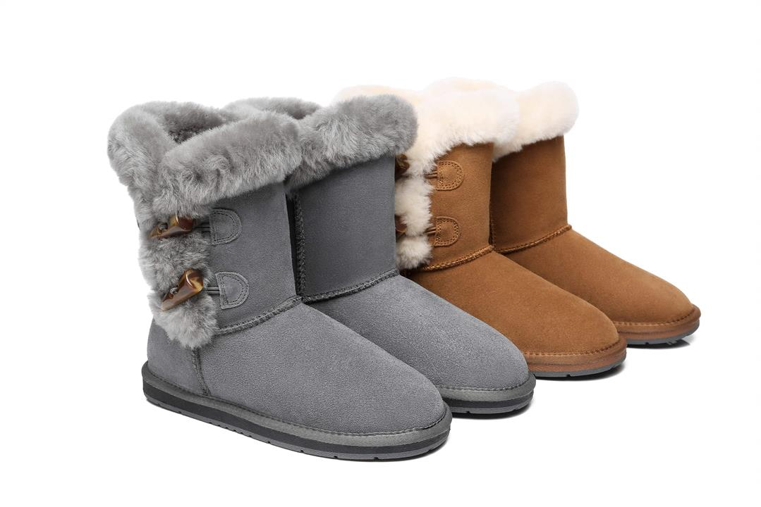 Fashion 4 Shoes - AS UGG Women Short Boots Talia Twin Face Sheepskin Double Horn Toggle Closure - Grey / AU Ladies 8 / AU Men 6 / EU 39