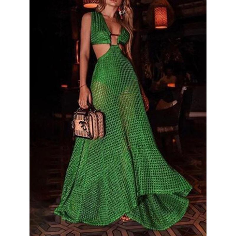 Floor-Length V-Neck Sleeveless Summer Womens Dress