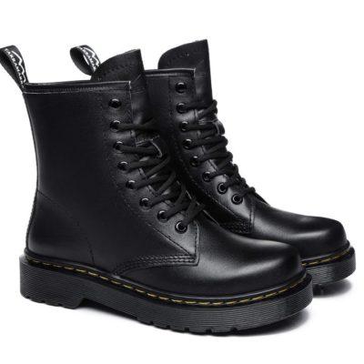 Fashion 4 Shoes - Simona Women HI Lift Platform Lace Up Leather Boots - Black / AU Ladies 9 / AU Men 7 / EU 40