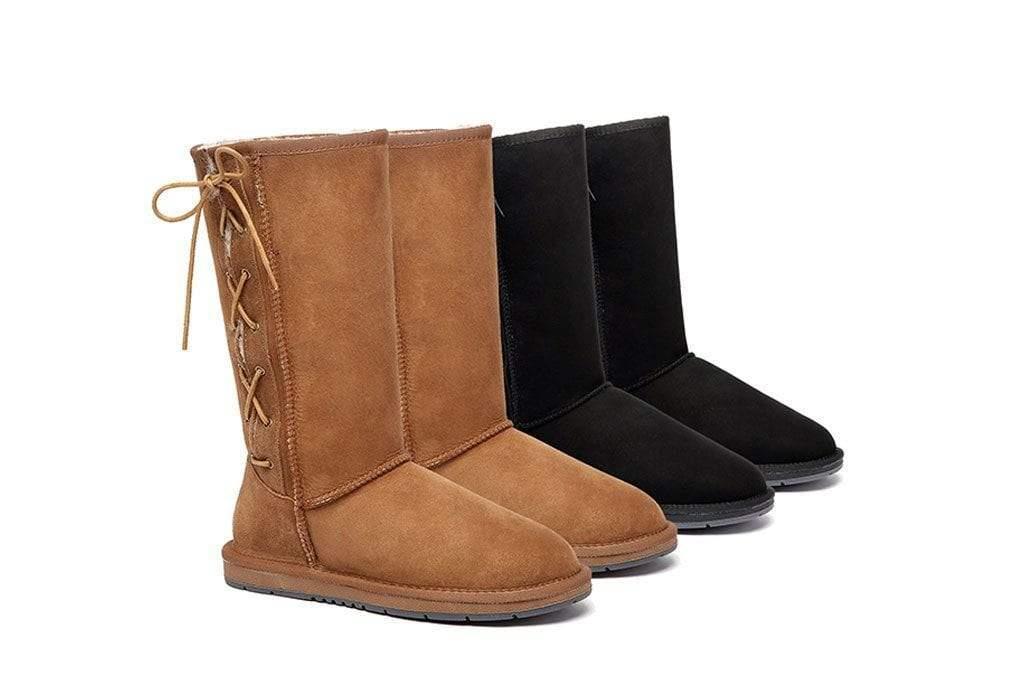 Fashion 4 Shoes - UGG Boots Australia Premium Double Face Sheepskin Tall Side Lace Up,Water Resistant #15983 - Black / AU Ladies 10 / AU Men 8 / EU 41