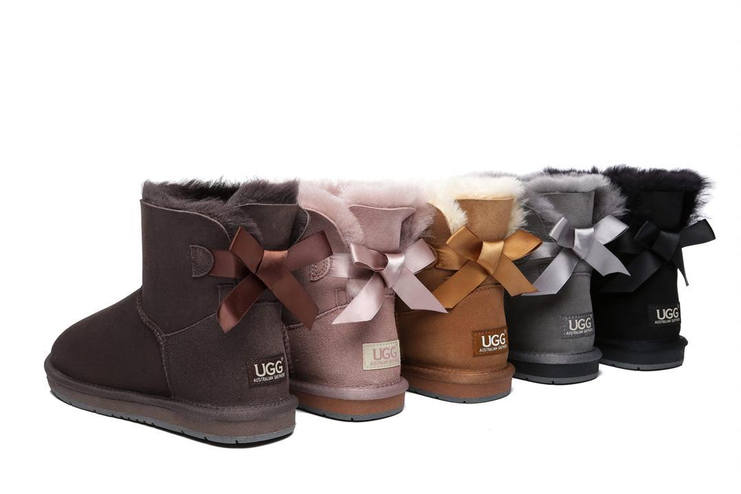 Fashion 4 Shoes - Women Mini Ugg Boots with Single Back Bow - Dawn Pink / AU Ladies 6 / AU Men 4 / EU 37