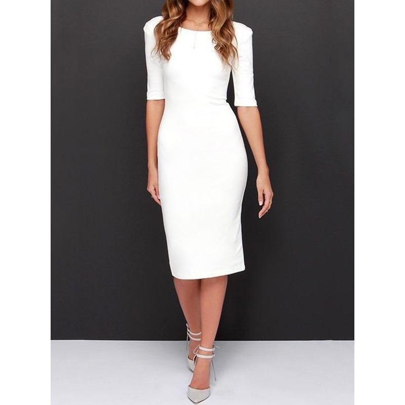 Backless Mid-Calf Half Sleeve Bodycon Womens Dress