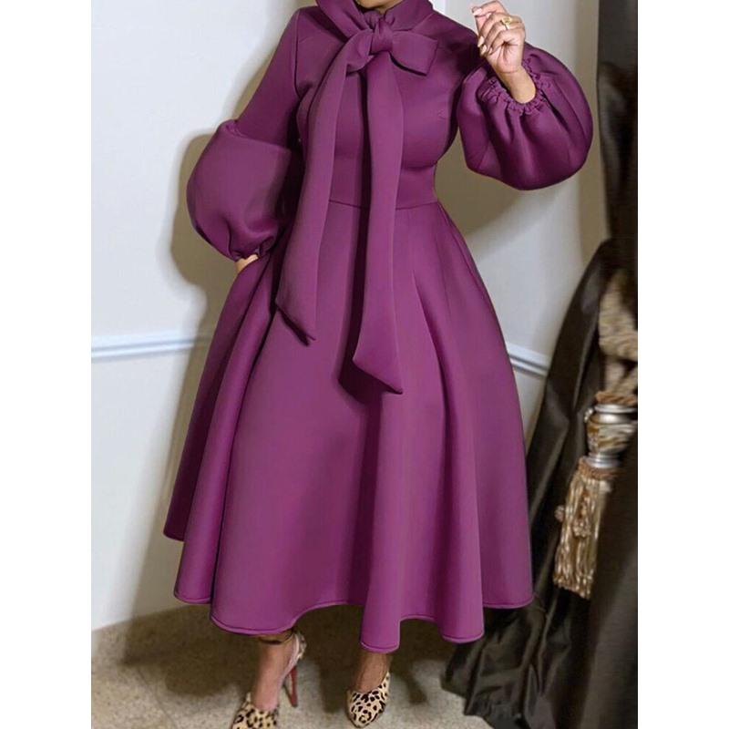 Bowknot Mid-Calf Long Sleeve Dress Womens Dress