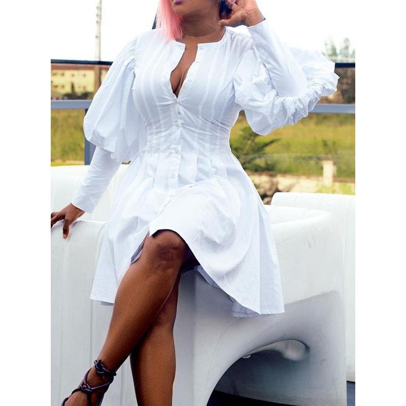 Long Sleeve Button Above Knee A-Line Womens Dress