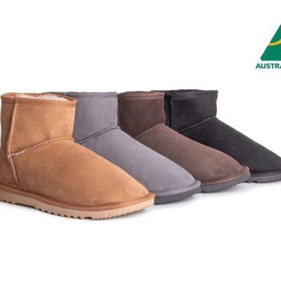 Fashion 4 Shoes - AS Australian Made Boots Mini Classic Unisex - Black / AU Ladies 5 / AU Men 3 / EU 36