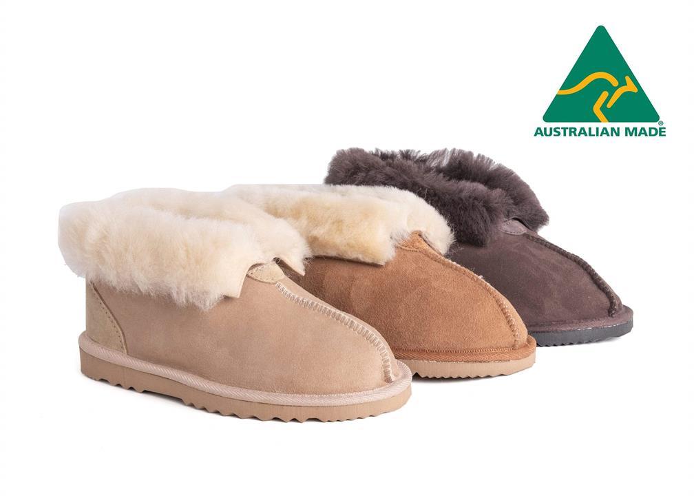 Fashion 4 Shoes - AS Australian Made Sheepskin Slippers Unisex UGG Slipper - Chocolate / AU Ladies 6 / AU Men 4 / EU 37