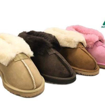 Fashion 4 Shoes - Australian Made Ugg Slippers Two Way Wear Wool Collar - Chocolate / AU Ladies 5 / AU Men 3 / EU 36