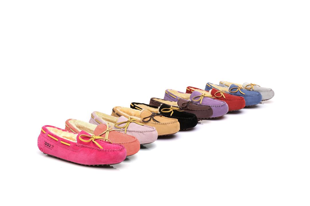 Fashion 4 Shoes - EVER UGG Ladies Classic Lace Moccasins - Light Pink / AU Ladies 6 / AU Men 4 / EU 37