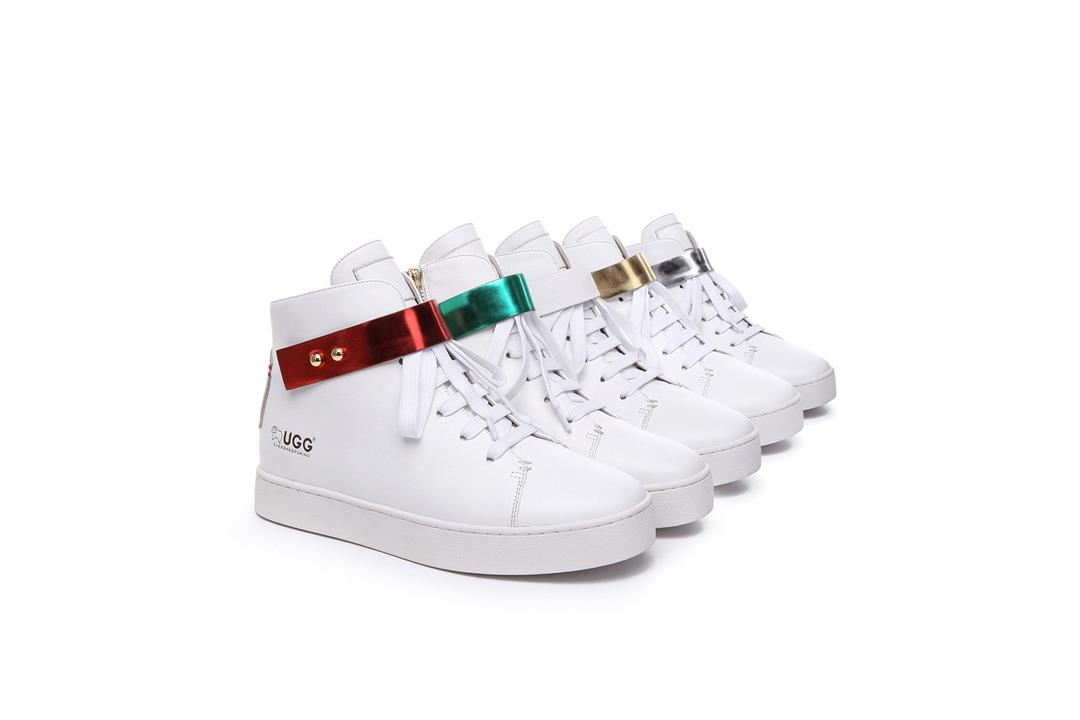 Fashion 4 Shoes - Ever UGG Leather Upper Flats Kriss - Silver / AU Ladies 4 / AU Men 2 / EU 35