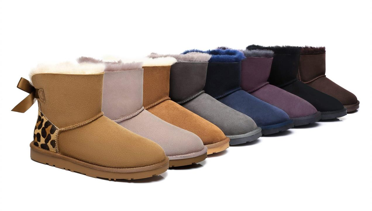 Fashion 4 Shoes - Ever UGG Mini Women Boots with Bailey Bow Twin Faced Sheepskin - Navy Blue / AU Ladies 4 / AU Men 2 / EU 35