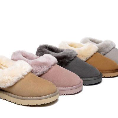 Fashion 4 Shoes - TA Sheepskin Slippers Clarrie Women Slippers Two Way Wear - Grey / AU Ladies 6 / AU Men 4 / EU 37