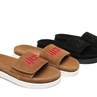 Fashion 4 Shoes - AS Gina Women Slides Suede - Black / AU Ladies 10 / AU Men 8 / EU 41
