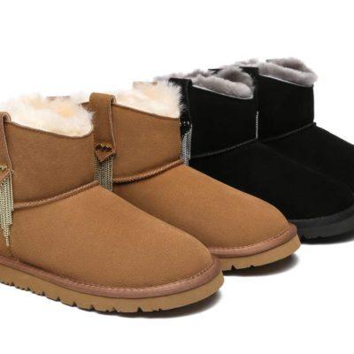 Fashion 4 Shoes - TA Reeva Women Mini Sheepskin Boots - Black / AU Ladies 7 / AU Men 5 / EU 38