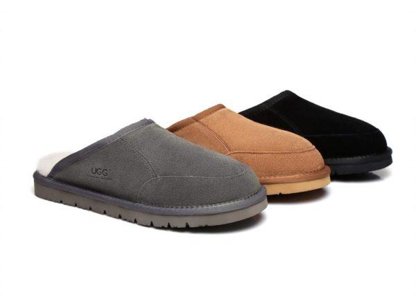 Fashion 4 Shoes - UGG Slippers Men Bred Australian Genuine Sheepskin - Chestnut / AU Ladies 10 / AU Men 8 / EU 41
