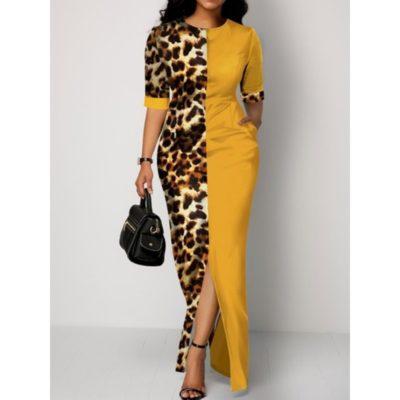 Floor-Length Three-Quarter Sleeve Patchwork Pullover Womens Dress