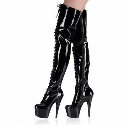 Shoespie Side Zipper Cross Strap Platform Knee High Boots